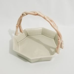 Fitz and Floyd Soft Pink & Peach Porcelain Basket